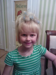 """Putting my curlers in her hair, """"so I can look like momma!"""""""