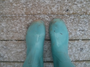 I'm still committed to spring. Wearing rain boots.