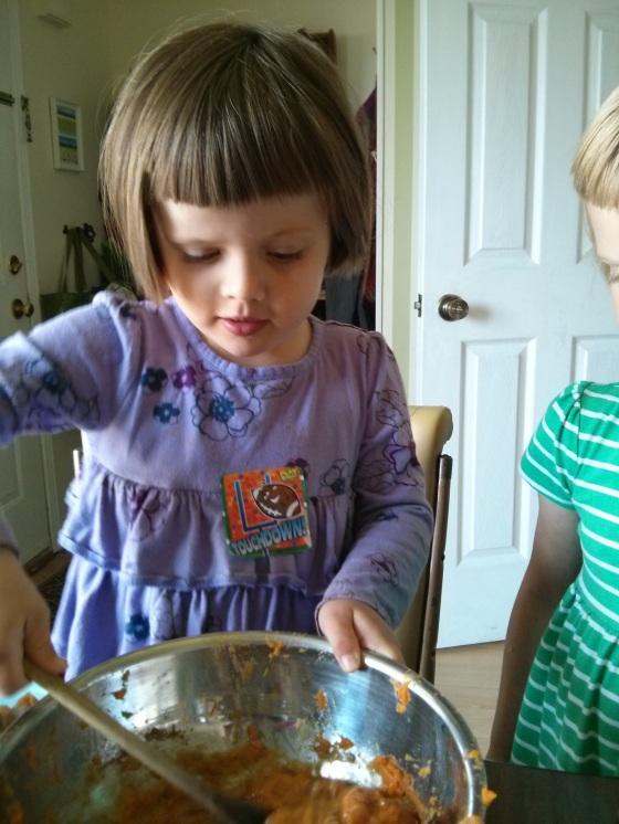 Athena & Raine making sweet potato pie