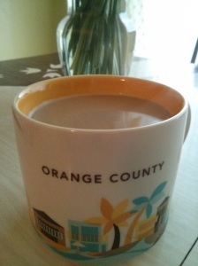 sipping coffee from my California mug (a gift from a friend after her recent trip)