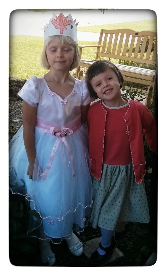Raine wanted to dress up as a princess in celebration of her sister's birthday. Athena didn't want to be left out of the picture.