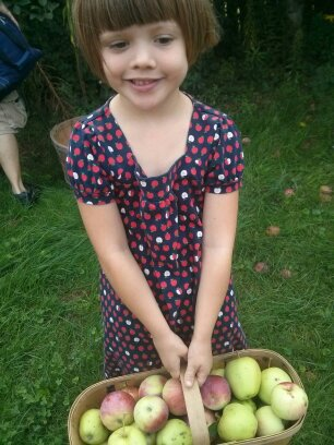 Athena apple picking in her apple dress